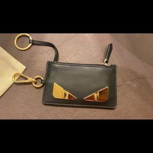Fendi card holder key pouch leather case